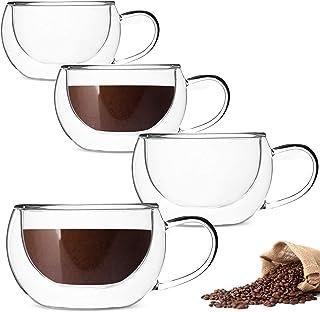 DeeCoo Double Wall Cappuccino Glass Mugs 8.5oz, Clear Coffee Mug Set of 4 Espresso Mug Cups,Double Wall Insulated Glass Mu...