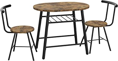 IRONCK 3 Piece Dining Set Table and 2 Chairs, Small Kitchen Table Set, Bistro Table Set, Pub Breakfast Table for Apartment an