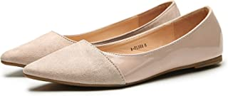 ASHLEY A Flora Stylish Patent PU Pointed Toe Comfort Slip On Ballet Dressy Flats Shoes for Women