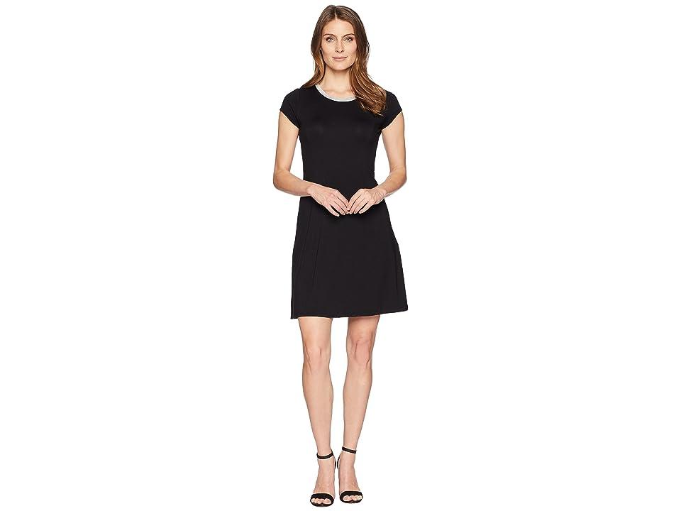 MICHAEL Michael Kors Cap Sleeve Seam Mini Dress (Black) Women