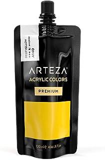 Arteza Colore Acrilico Professionale (Giallo Intenso), Tubo Grande Singolo da 120 ml, Facile da Spremere e Usare, Tempera ...