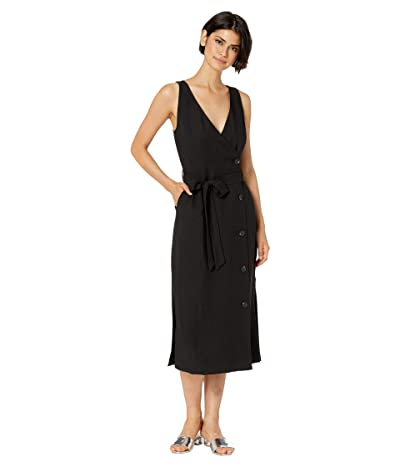 1.STATE Sleeveless Button Front Faux Wrap Dress (Rich Black) Women