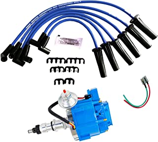 A-Team Performance HEI Complete Distributor Blue Cap with 6CYL 8mm Blue Silicone Spark Plug Wires Set and Pigtail Wiring Harness Tachometer Compatible with Ford Inline 6 144 170 200 250 5/16 Hex Shaft