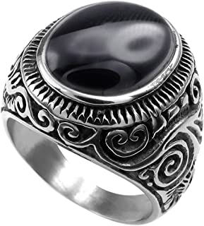 XAHH Men's Classic Vintage Oval Agate Biker Stainless Steel Ring Band Silver Black