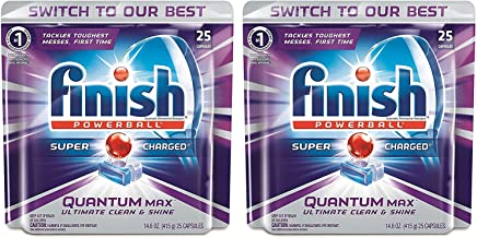 Finish Powerball Dishwasher Detergent - Quantum Max - 25 Count Tablets Per Package - Pack of 2 Packages