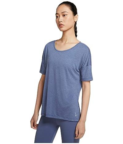 Nike Yoga Layer Short Sleeve Top (Diffused Blue/Heather/Obsidian Mist) Women
