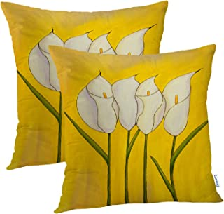 Batmerry Yellow Flower Decorative Pillow Covers 18x18 Inch Set of 2, Bouquet Oil Painting Flowers Yellow I Double Sided Sq...
