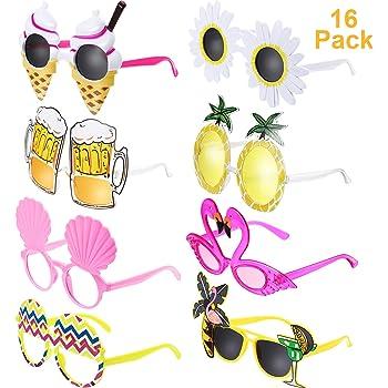 Chinco 16 Paires Lunettes de Soleil Tropicales Hawaïennes Lunettes de Fête Drôles de Nouveauté Lunettes de Soleil Costume pour l'Été Accessoires de