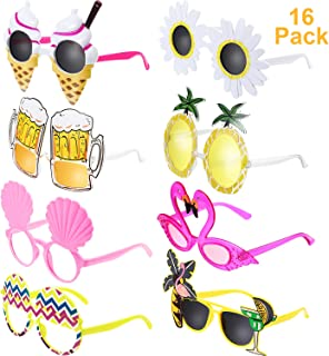 Chinco 16 Pairs Novelty Party Sunglasses Creative Funny Glasses Hawaiian Tropical Sunglasses for Luau Tropical Party, Fancy Dress Party, Hawaiian Themed Eyeglasses for Kids & Adults, 8 Styles