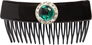 Caravan Hand Decorated French Over Lapping Comb with Large Emerald and Swarovski Crystal Stones, Black, .65 Ounce