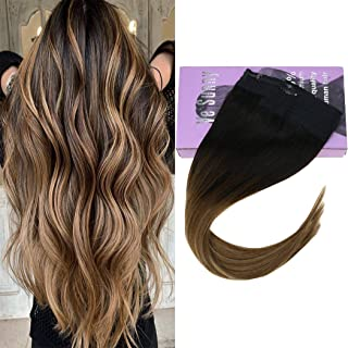 VeSunny 12inch Secret Wire Hair Extensions Halo Human Hair Adjustable Fish Line #2 Darkest Brown Fading to #6 Mix #27 Caramel Blonde Invisible Hairpieces Double Weft Crown Hair Extensions 80G/Set