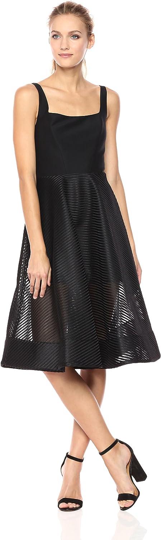 Halston Heritage Womens Sleeveless Wide Neck Dress with Stripe Mesh Skirt
