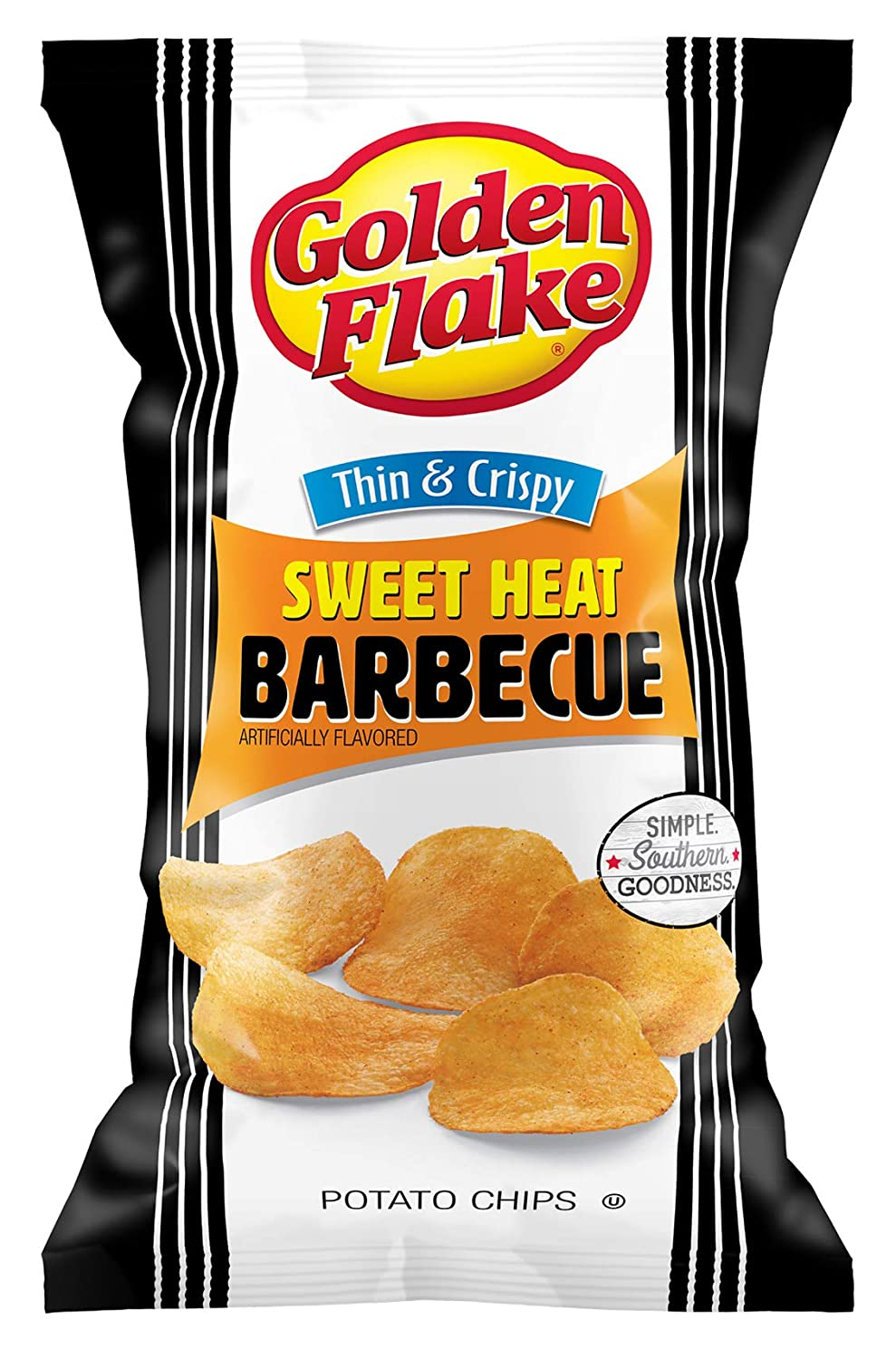 Golden Flake Sweet Heat BBQ Thin Potato Crispy 4.625 and Rare O Recommendation Chips