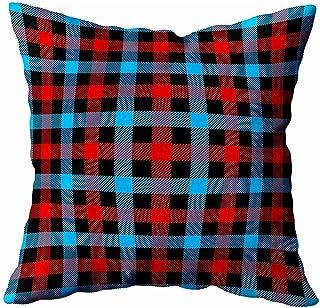 Ducan Lincoln Pillow Case 2PC 18X18,Fundas De Almohada,Navidad Año Nuevo Patrón Escocés De Cuadros Escoceses En Negro Azul Rojo Jaula Roja Fundas De Almohada De Sofá,Fundas De Almohada,Verde Marrón