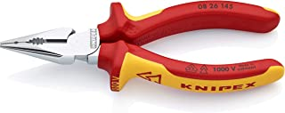 KNIPEX 08 26 145 Needle-Nose Combination Pliers chrome plated insulated with multi-component grips, VDE-tested 145 mm