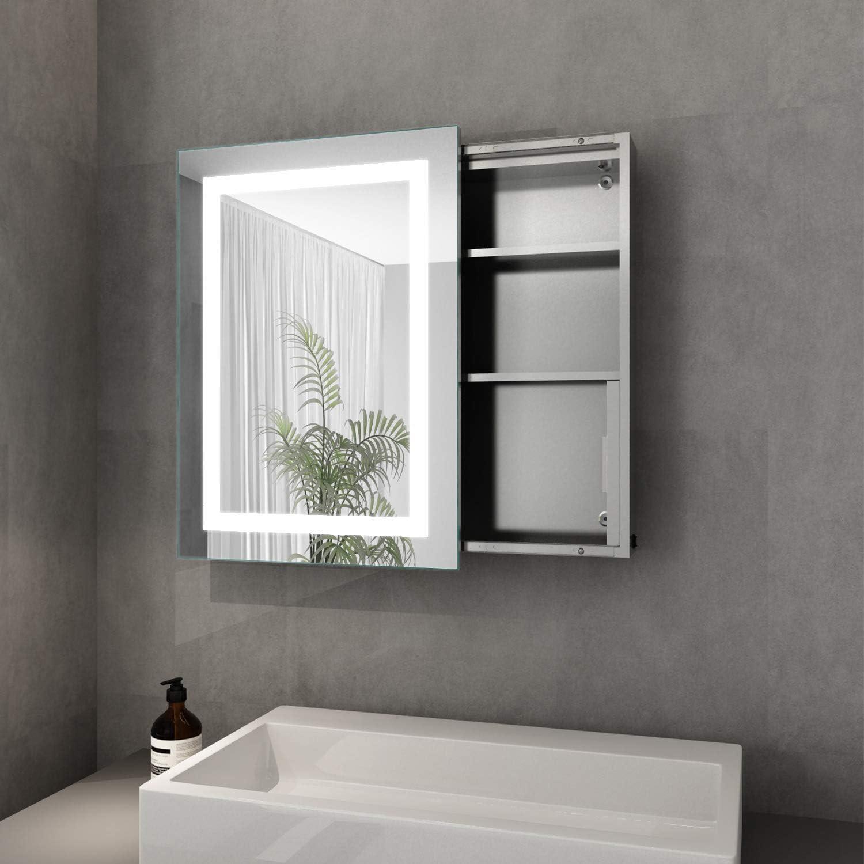 Elegant Bad Spiegelschrank mit Beleuchtung Schiebetür LED Licht ...