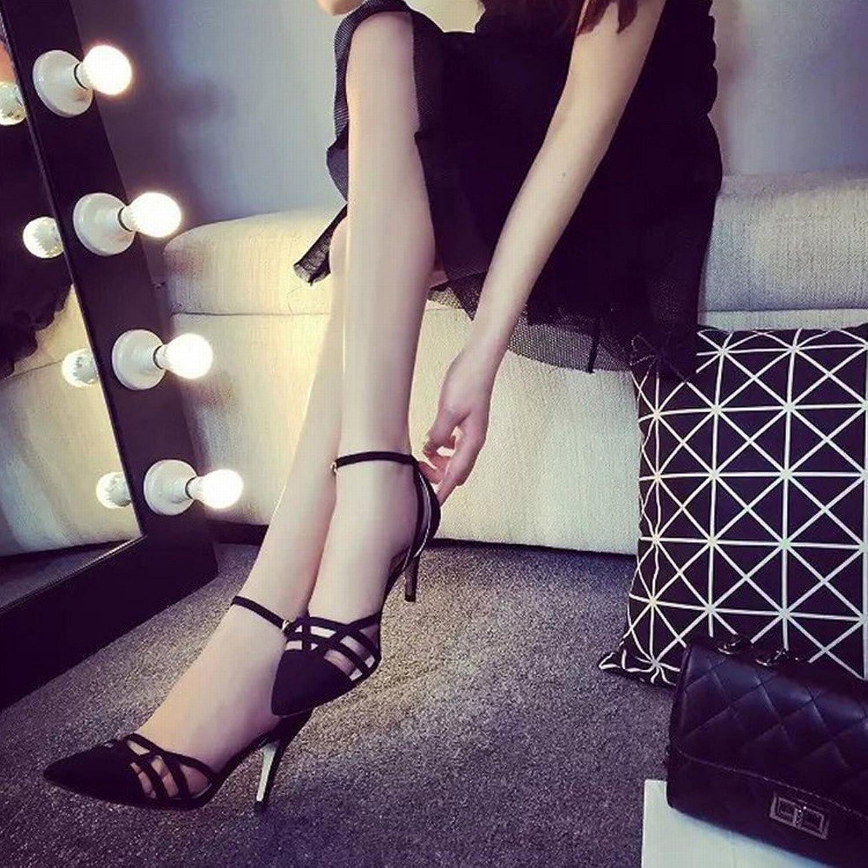 DHG High Heels Sandalen Sandalen Sandalen Spitze Fein mit Dem Sommer Westlichen Kopfschmuck Verschluss Hohlen Flachen Mund Rom Mode Schuhe,Ein,37  162825