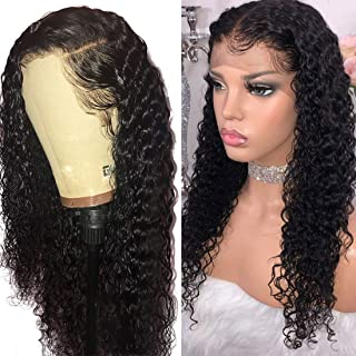 VRBest Hair Deep Wave Human Hair Lace Front Wigs Brazilian Virgin Human Hair Wigs Pre-Plucked 150% Density 100% Unprocessed Wig Natural Color for Black Women(20 Inch)