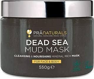 PraNaturals 100% natürliche Gesichts- und Körpermaske mit Schlamm aus dem Toten Meer 550g, reich an nahrhaften Mineralien, spendet Feuchtigkeit und reinigt die Haut, parabenfrei und Tierversuche