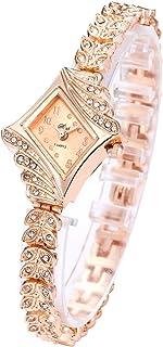 LsvtrUS Lady Women Quartz Rhinestone Crystal Wrist Watch Rhombus Gold Surface