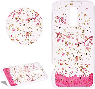 Glitter Gold Foil Clear Silicone Phone Case for Huawei P20 Lite,DasKAn Pink Cherry Flower Pattern Luxury Bling Sparkle Ultra Thin Slim Fit Shockproof Soft Rubber Protective Back Cover,#3