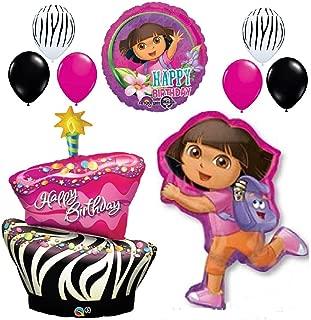ZEBRA CAKE DORA THE EXPLORER HAPPY BIRTHDAY BALLOONS SET party supplies hot pink by Lgp