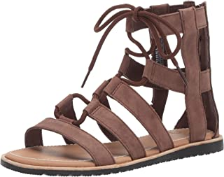 Women's Bailee LACE UP Sandal Flat, Tobacco, 8 M US
