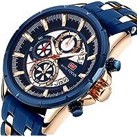Mini Focus Men's Luminous Waterproof Quartz Casual Wristwatch (Blue)