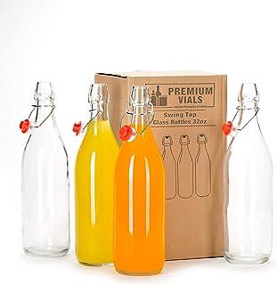 California Home Goods ジアラガラスボトル 4個セット 33.75オンス ストッパーキャップ付き カラフェ スイングトップボトル 密閉蓋付き オイル/ビネガー/飲料/リキュール/ビール/水/コンブチャ/ケフィア/ソーダ用 p...