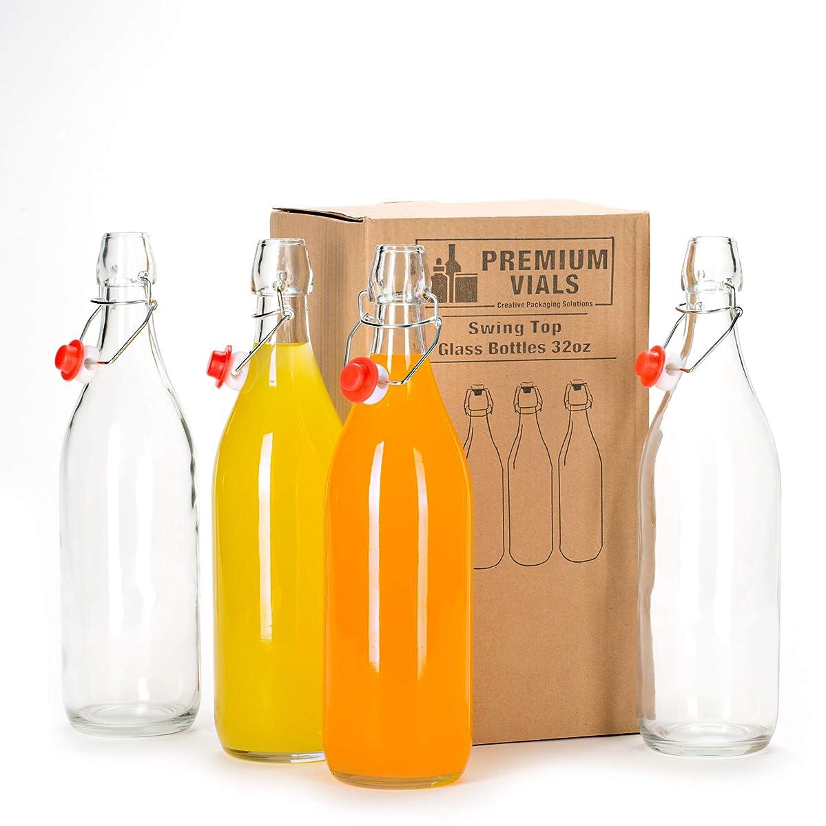 Set of 4-33.75 Oz Giara Glass Bottle with Stopper Caps, Carafe Swing Top Bottles with Airtight Lids for Oil, Vinegar,Beer, Water, Kombucha, Kefir, Soda