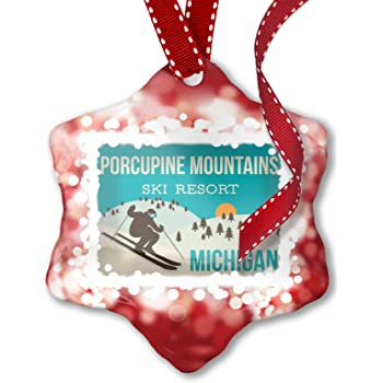 NEONBLOND Christmas Ornament Mountains Chalkboard Porcupine Mountains Michigan