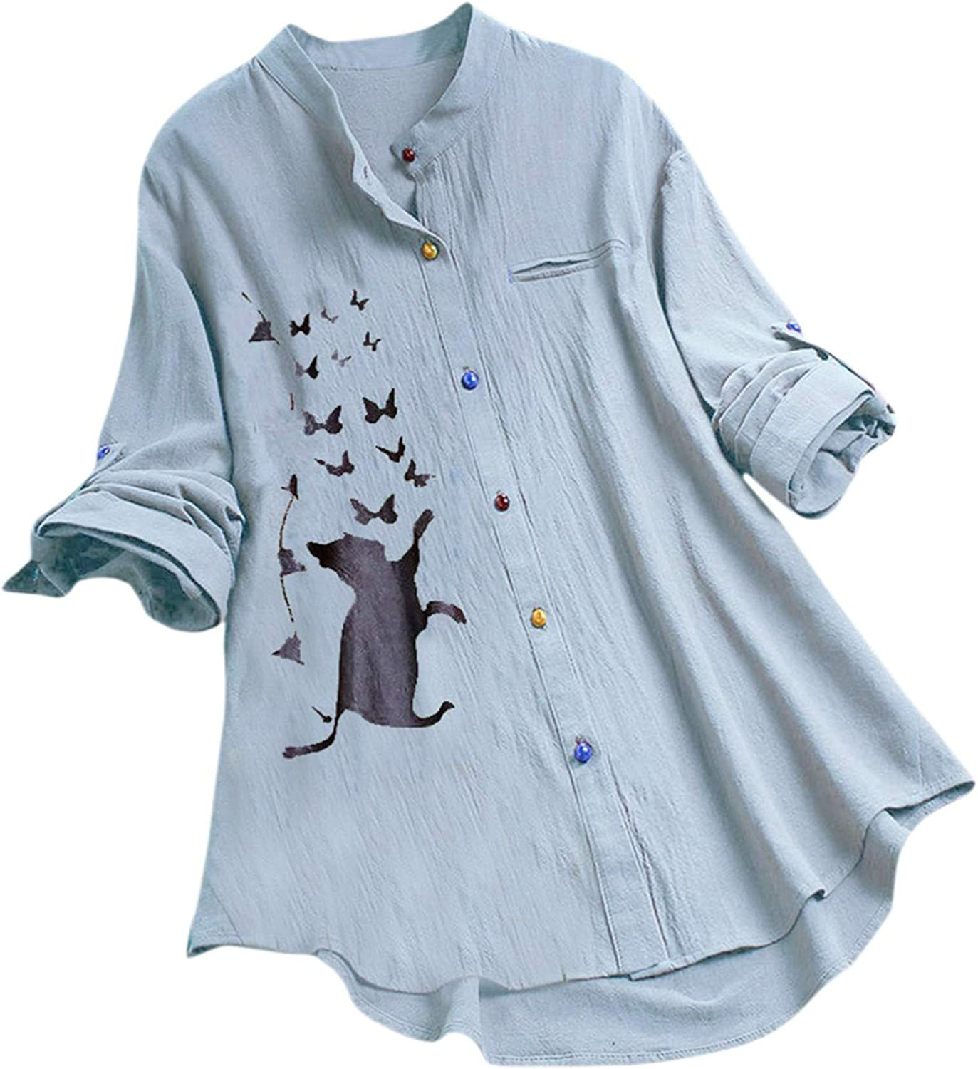 Funny Cat Print Women Shirts Autumn Button Comfy Casual Shirt Blouses Oversized Home Office Shirt with Pockets