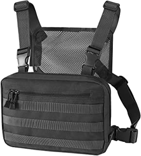 FUNANASUN Chest Bag Tactical MOLLE Pouch Heavy Duty Radio Chest Harness Holder Work Vest Multi-Function Tool Pack for Two Way Radio Walkie Talkie Rescue Essentials