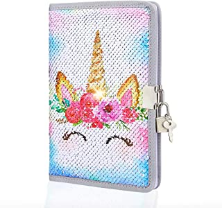 ICOSY Unicorn Sequin Diary with Lock and Key, Girls Journal Mermaid Sequin Notebook Kids Travel Diary Unicorn Gift for Boys and Girls School Notebook