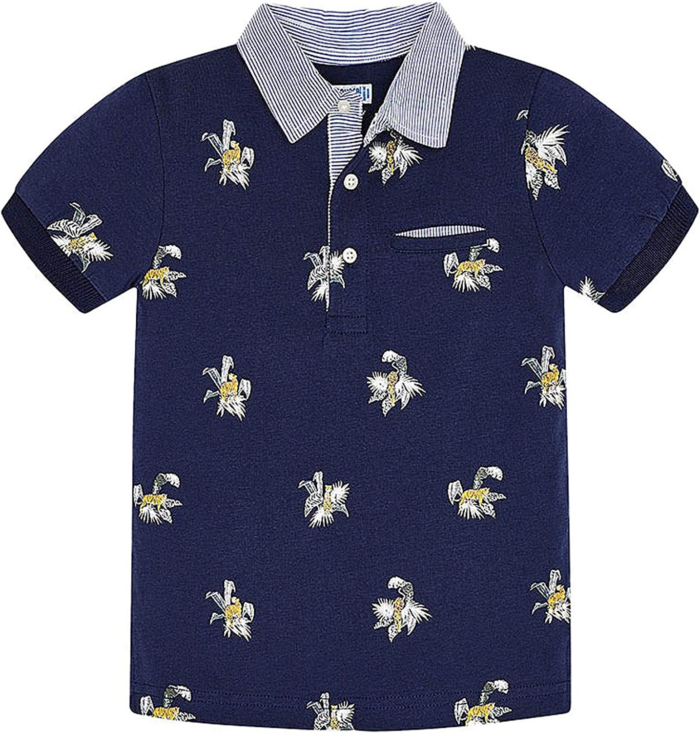 Mayoral - Polo s/s Stamped Tigers for Boys - 3146, Ink