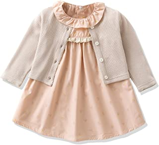 Baby Girl's Clothes Long-sleeved Jacket With Floral Dress Sets