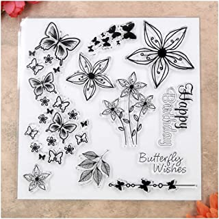 Kwan Crafts Happy Birthday Butterfly Flowers Clear Stamps for Card Making Decoration and DIY Scrapbooking