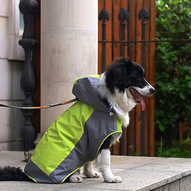 Bolbove Big Dog Hooded Raincoat Slicker Rain Poncho Waterproof Jacket for Medium to Large Dogs (6, Green)