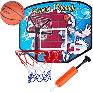 """Fzohimy Mini Slam Dunk Basketball Hoop with Ball 18""""x14"""" Over-The-Door Design for Bedrooms, Playrooms, Basements"""