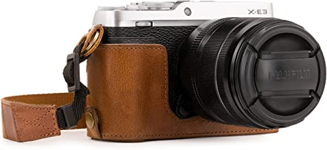 Megagear MG1343 Ever Ready Genuine Leather Camera Half Case & Strap Fujifilm X-E3 with Battery Access, Light Brown