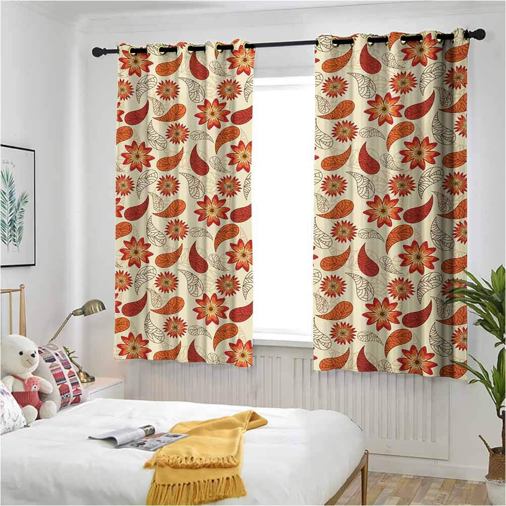 Orange Custom Drapery Red Poppy Flowers Retro free shipping Style Fixed price for sale Leave in and