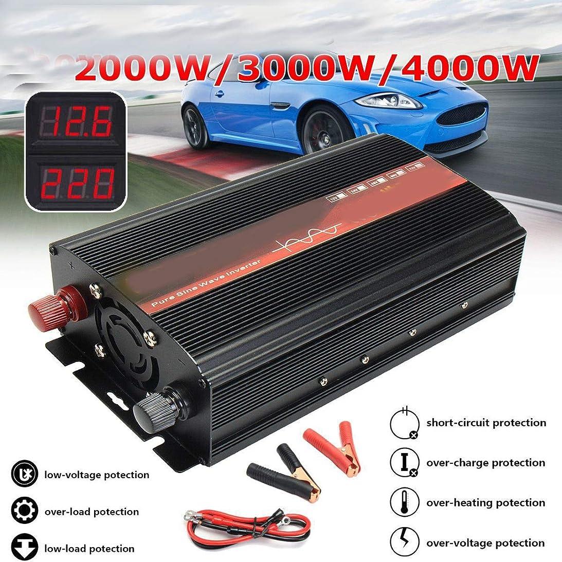 さびた騒乱眉インバーター12V / 24V 220V 2000/3000 / 4000W変圧器純粋な正弦波力インバーターDC12VからAC 220Vコンバーター+ 2 LEDディスプレイ