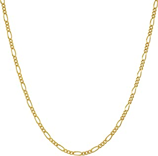 1.5mm Figaro Chain Necklace Women and Men 24k Real Gold Plated with Free Lifetime Replacement Guarantee