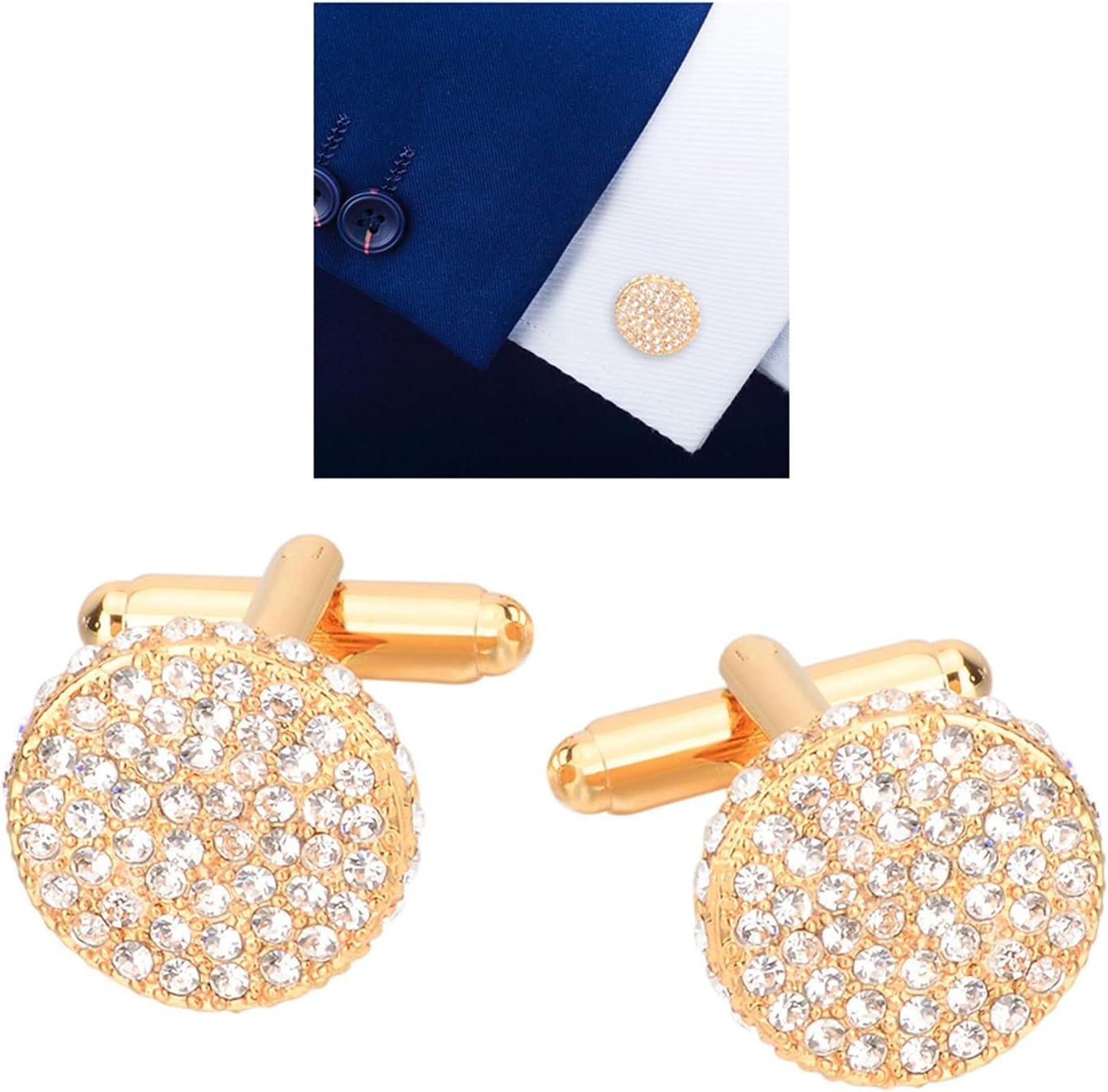 chenfeng Cufflinks 1 Pair Wedding Crystal Rhinestone Cuff Links Shirt Suit Collar Cufflinks Gold