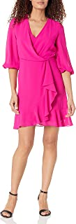 Taylor Dresses Women's V-Neck 3/4 Sleeve Solid Faux Wrap Crepe Dress
