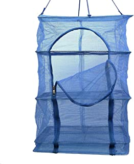 3 Layer Non-toxic Nylon Netting Collapsible Mesh Hanging Drying Dry Rack Net Food Dehydrator Receive Storage Carrying Bag-Blue (40X40cm/15.7X15.7inch)