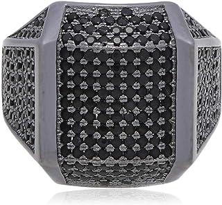 Atiq Womens 925 Sterling Silver Black Rhodium Plated - RB1258-BK-12, Color Black, Size 12