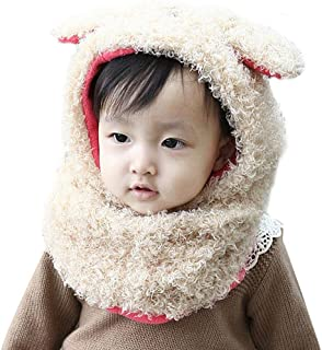 HighpotBaby Boy Girl 3D Small Lamb Cover Ears Plus Velvet Baby Scarf Hat Set