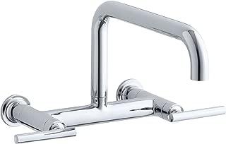 KOHLER K-7549-4-CP Purist Wall-Mount Bridge Faucet, Polished Chrome