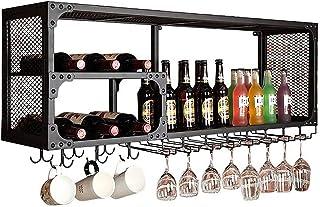 ZJDM Organiser la Cuisine Supports à vin Suspendus muraux Noirs Porte-Bouteilles de vin de Bar de Style Vintage Supports à...